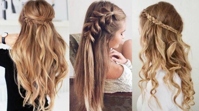 Yarım üç örgü saç modeli